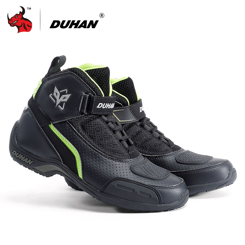 DUHAN Motorcycle Boots Summer Breathable Moto Boots Men Motocross Off Road Racing Boots Motorbike Riding Shoes