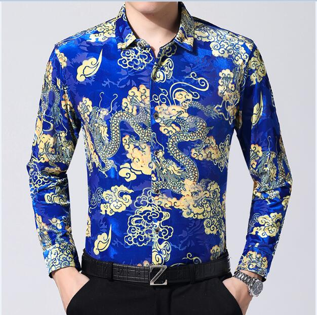 Hot Sale Sexy Man See Through Clothes Autumn China Dragon Shirt Long Sleeve Male Gold Velvet Dress Shirt