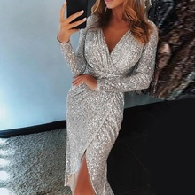 2ddc1d0d Laamei Women Wrap Ruched Irregular Sequin Party Dresses Sequin Sparkly  Glitter Plunge V Neck Sexy Split