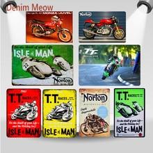 Retro TT Isla de hombre de Metal signos Norton motocicletas carreras placa Vintage arte pintura placas Pub Bar garaje tienda decoración WY59