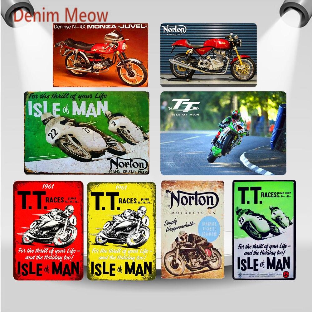 Retro TT Isle of Man Metal Signs Norton Motorcycles Races Plaque Vintage Art Painting Plates Pub Bar Garage Shop Home Decor WY59