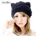 IdeaBee Nova Moda Quente Senhora Menina Inverno Quente Tricô de Lã Gato orelha Gorro de Crochê Trançado Chapéu De Esqui Cap Chapéu de Malha de Lã das Mulheres