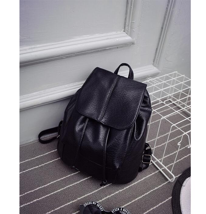 RUILANG Women Backpack Female Black Casual PU Leather Shoulder Bag Soild Simple Style Girl School Bags Daily Back Pack Lady Bag