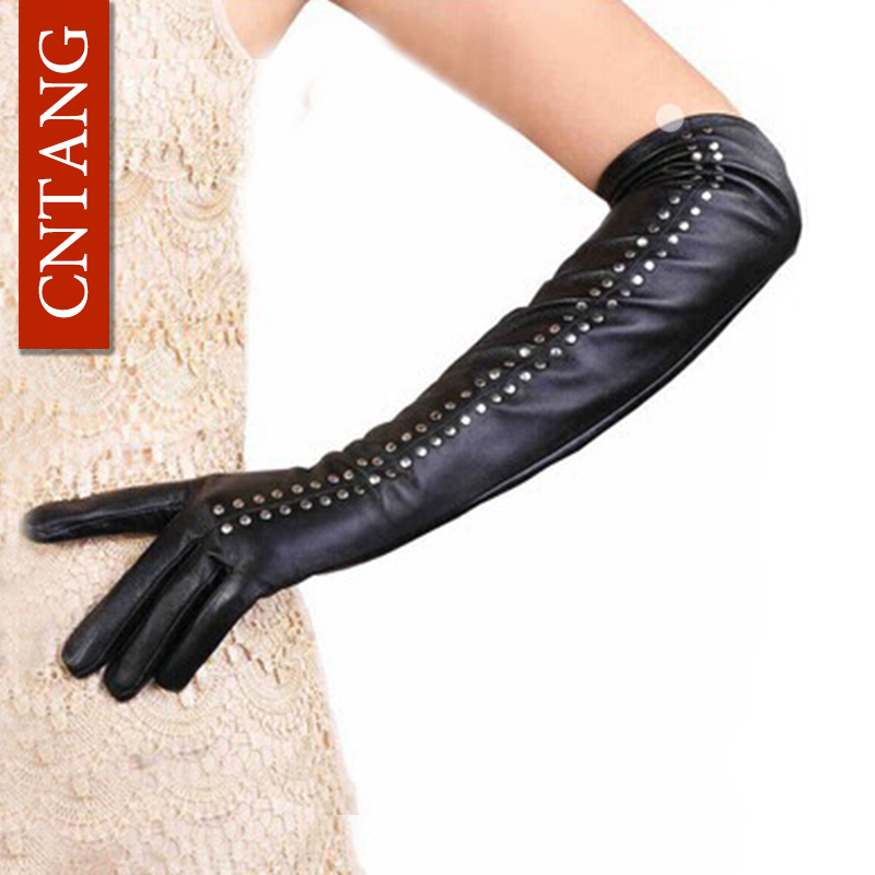 Sexy Hot 2018 Winter Fashion Rivet High Quality Artificial Leather Women Gloves Black Elbow Length Gloves Sexy Black Warm Gloves