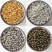 Золото/серебро/Бронзовый/серебристый тон Металлические бусины Гладкие бусины для изготовления ювелирных изделий 2/2. 5/3/4/5/6/8/10 мм бижутерии, материал для рукоделия