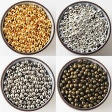 Grânulos lisos do espaçador da bola do metal da cor do ouro/bronze/prata para fazer joias 2/2.5/3/4/5/6/8/10mm joias descobertas diy