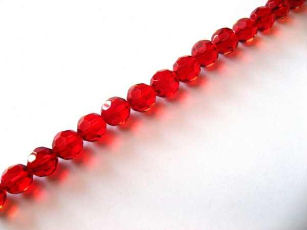 Fashion Diy Faceted Red faceted Glass Beads round crystal beads