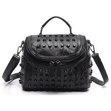 2019 Fashion Women Messenger Bags Black Rivet Genuine Leather Shoulder Bag Sac a Main Crossbody For Designer Handbags