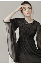 Women Summer 2017 Asymmetry Butterfly Sleeve Fashion Brand Black Sequined Long Casual Work Beach Party Dress 9293