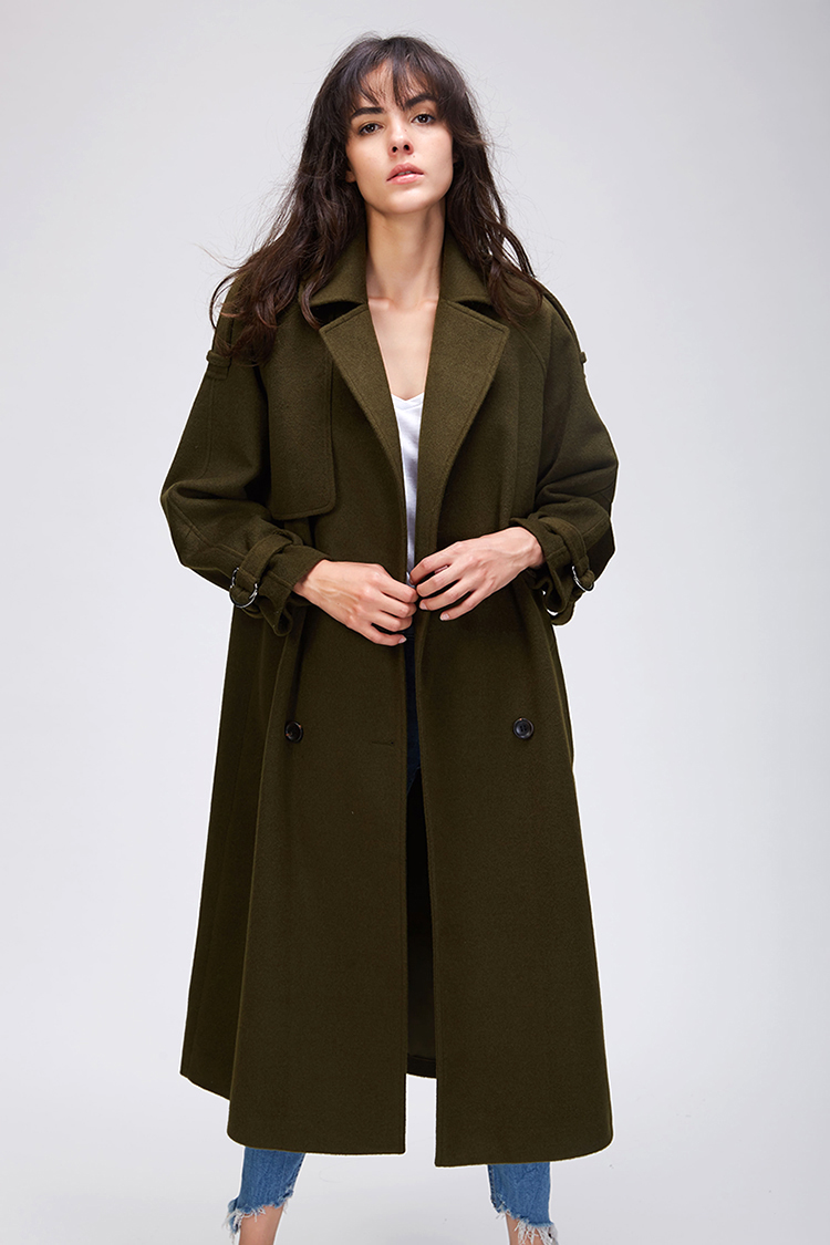 JAZZEVAR 19 Autumn winter New Women's Casual wool blend trench coat oversize Double Breasted X-Long coat with belt 860504 16