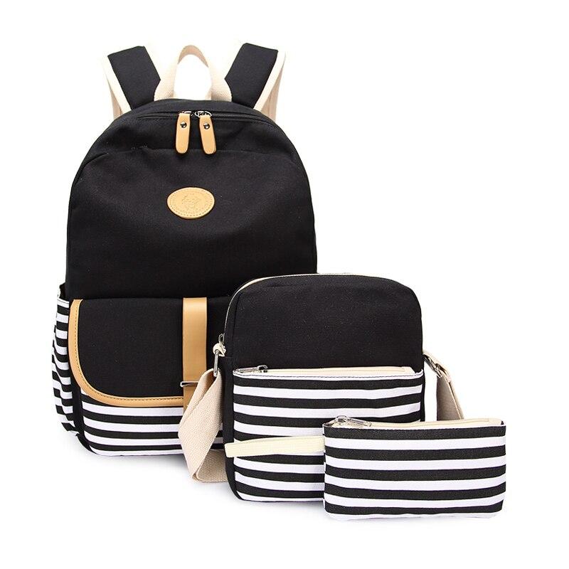 3pcs Black And White Striped Canvas School Backpack For Girls Stripe Pen Pencil Bag Bookbag Kids School Bag Student Backpack Set
