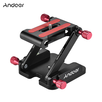 Andoer Aluminum Alloy Z Flex Tilt Head Folding Quick Release Plate Camera Tripod Head Stand Holder for Canon Nikon Sony DSLR