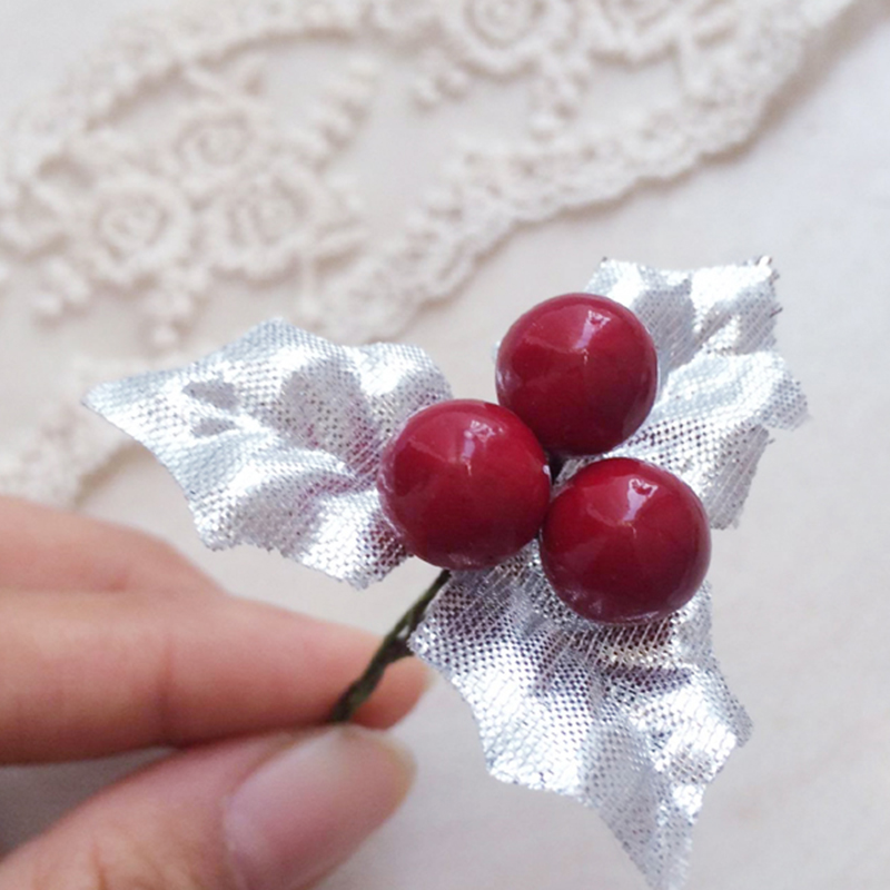 20pcsset red berry green gold silver leaves christmas tree decoration diy craft new year xmas decoration for home wedding decor - Red Berry Christmas Tree Decorations