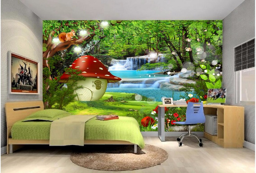 Custom photo 3d wallpaper mural dreamy forest children for Custom photo mural