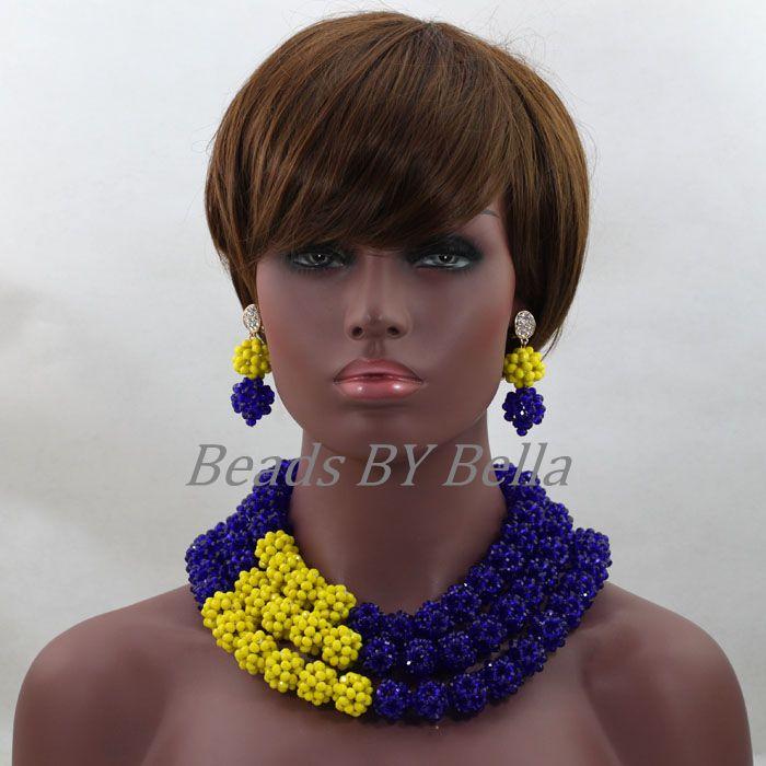 2017 Latest Royal Blue/Yellow Indian Bridal Costume Jewelry Set Nigerian Wedding African Beads Jewerly Set Free Shipping ABL263