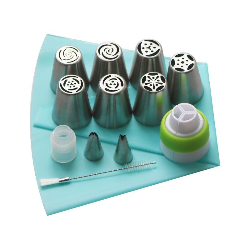 Dropship 13 pçs/set Russa Saco 2 1 Pcs Silicone Acoplador Confeiteiro Piping Dicas Folha Escova de Bicos de Decoração Do Bolo Do Queque DIY Sobremesa
