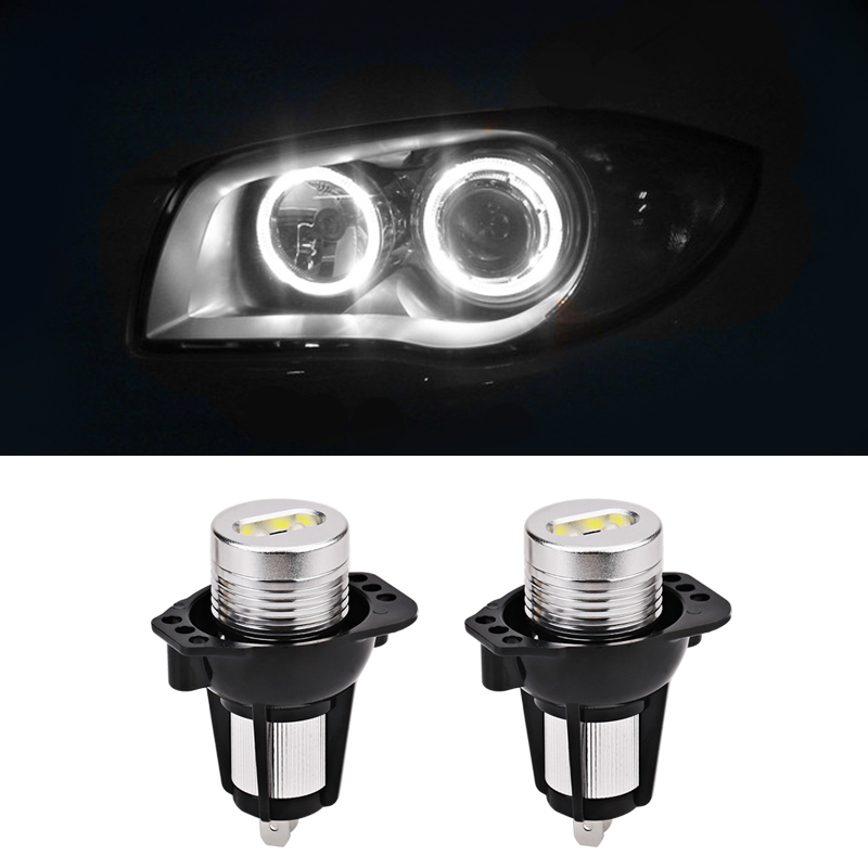2pcs For BMW LED Angel Eyes Light Bulb 6500k White Angel Eyes Light No Error Bulb For BMW E90 E91 3 Series Sedan 03.2005-09.2008 free shipping cree white no obc 9006 led fog light bulb for bmw e60 bmw 5 series 2003 2007