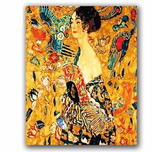 Coloring by numbers Woman with a fan Gustav Klimt picture Abstract figure pictures painting by numbers with kits for hoom decor(China)