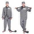 Бесплатная доставка Хэллоуин одежды для взрослых заключенных ролевая насилия заключенных черно-белые мужчины и женщины маскарадные костюмы