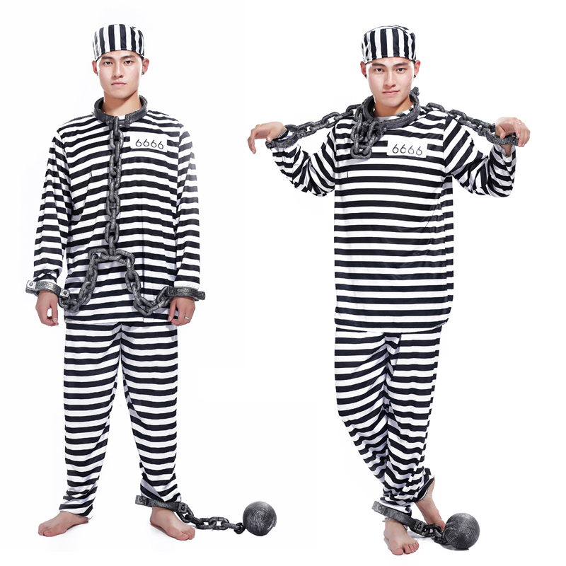 Free Shipping Halloween Clothes Adult Prisoners Role Playing Violent Prisoner Black And White Men And Women Masquerade Costumes