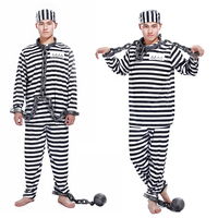 Free Shipping Halloween Clothes Adult Prisoners Role Playing Violent Prisoner Black And White Men And Women