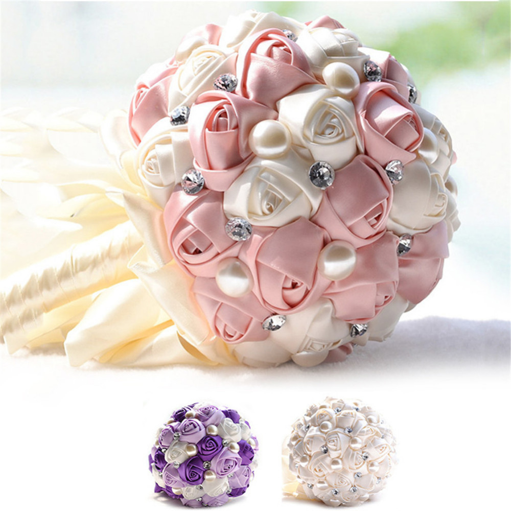 Weeding flower romantic bouquets silk roses bride hand held flowers weeding flower romantic bouquets silk roses bride hand held flowers bridal dried flowers hand bouquet decoration for wedding in artificial dried flowers izmirmasajfo