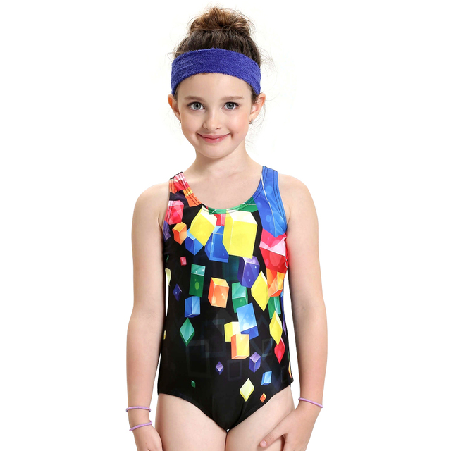 e6e6c8ca54859 Aliexpress.com : Buy Children Girl One piece swimsuit Splice Racerback Print  Young Girl Swimwear Toddler Swimming Suit Athletic Sport Lesson Swimsuit  from ...
