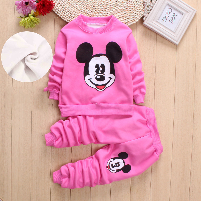 18 new AutumnWinter baby girls clothing sets children velvet warm clothes set kids girls cartoon coats+ pants suits Christmas suit