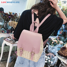 Fashion Women's Backpacks Woven Panelled White School Bag Pink Travel Backpack For Teen Girls Cute Bagpack Black Woman Back Pack mini backpacks for women leather pu cute daypack small backpack female white bagpack woman fashion black back pack bag for lady