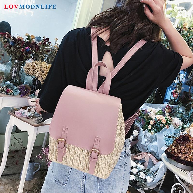 Sac à dos de mode pour femmes tissé panaché blanc sac d'école rose sac à dos de voyage pour adolescentes mignon sac à dos noir femme