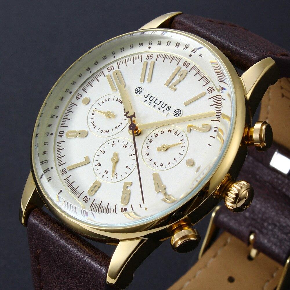 Prix pour Marque de luxe Julius Hommes De Mode Sport Montres Hommes de Quartz Six-pin Date Horloge Mâle Armée Militaire En Cuir D'affaires Montre-bracelet