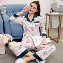 2019 spring autumn new pajamas set milk silk printing color matching V-neck long-sleeved shirt+trourner 2pcs women home clothing