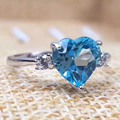 Romantic topaz heart ring natural 7mm natural light blue topaz solid 925 sterling silver topaz jewelry for woman Christmas gift