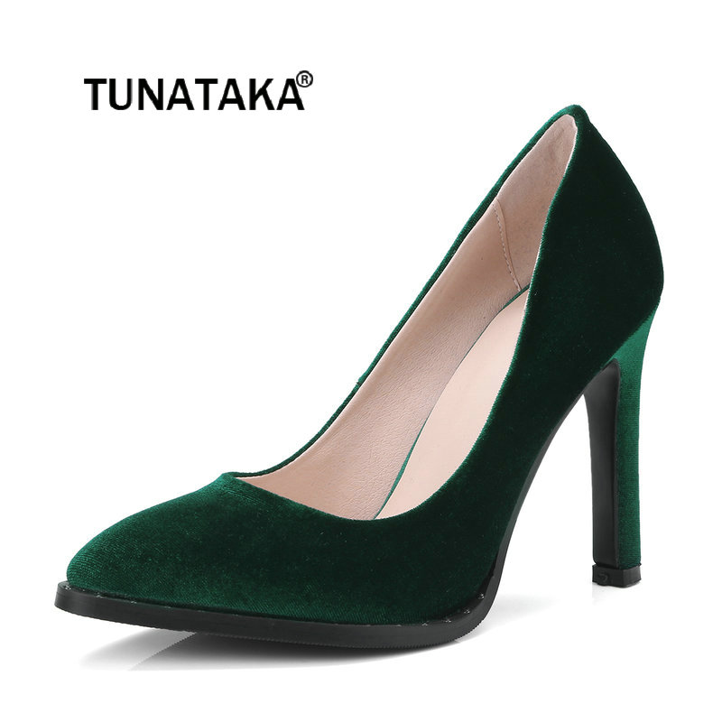 Women Shallow Thin High Heel Slip On Lazy Shoes Fashion Pointed Toe Dress Party Pumps Black Green Blue 2017 new summer women flock party pumps high heeled shoes thin heel fashion pointed toe high quality mature low uppers yc268