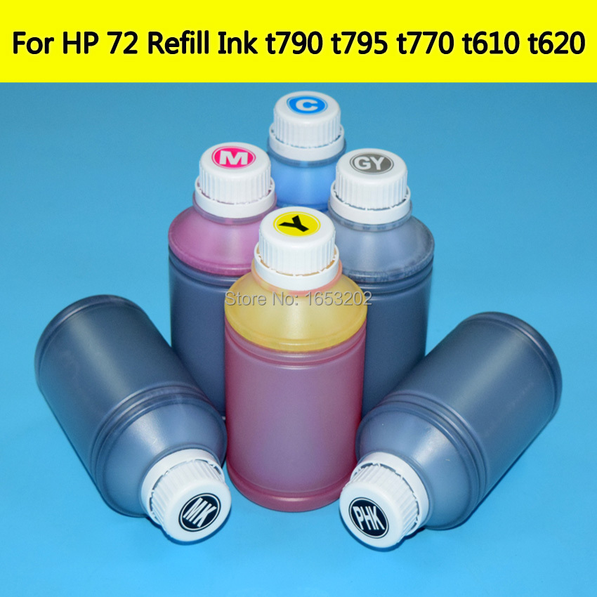 6L HP72 Refill Ink For HP 72 Cartridge Bulk Ink Supply For HP T610 T620 T770 T795 T1200T T1300 T790 T2300 C9403A Printer BMKJ картридж hp pigment ink cartridge 72 matte black c9403a