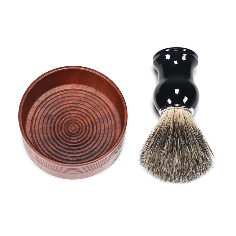 Metal Resin Handle Shaving Brush Set Beard Brush + Oak Wooden Shaving Bowl Beard Kit For Man Razor Brush Barbear Set Tools
