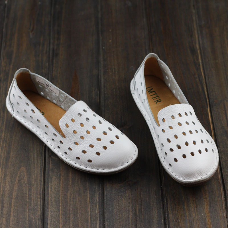 Women s Shoes Hand made Genuine Leather Flats Plain Toe Slip on ladies Flat Shoes Casual