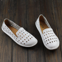Women's Shoes Hand-made Genuine Leather Flats Plain Toe Slip on ladies Flat Shoes Casual Female Footwear (1957-3)