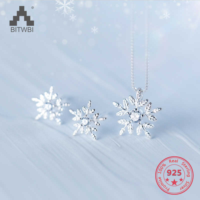 100% 925 Solid Real Sterling Silver Beautiful Snowflake Stud Earring Pendant Short Choker Necklace For Girl Women Jewelry