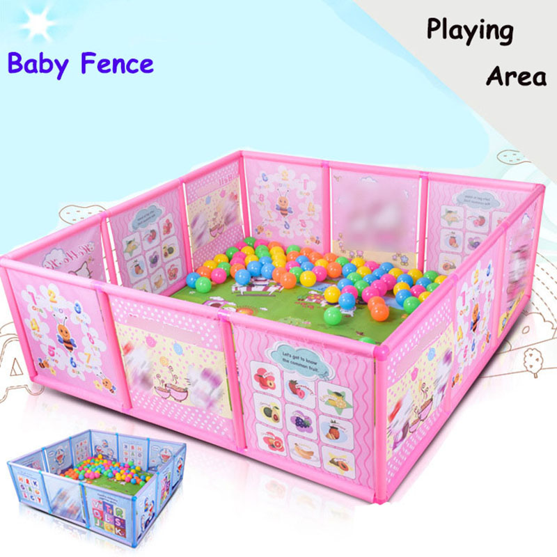 Cartoon Children Kids Plastic Play Fence <font><b>Baby</b></font> Safety Fence <font><b>Pool</b></font> <font><b>Baby</b></font> Game Toddler Crawling Crawl Safety/<font><b>Pool</b></font> <font><b>Balls</b></font> 100 Pcs 6CM image