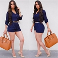 2016 Summer Blue Casual Womens Jumpsuits And Rompers Turn Down Collar Button Office Ladies Playsuit One Piece Outfits Shorts