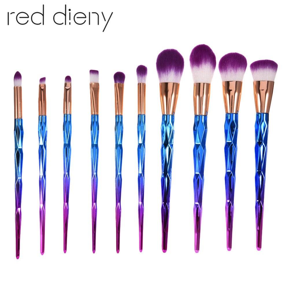 10 Unids / set Pinceles de Maquillaje de Diamante Set Facial Powder - Maquillaje