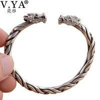 V. Я тайский серебра TOW головы дракона ткань Браслеты для Для мужчин Для женщин унисекс Твердые стерлингового серебра 925 Браслеты мужской Best ...