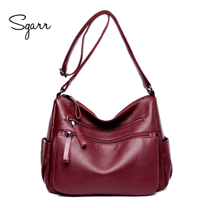 SGARR Luxury PU Leather Women Handbag Designer Brand Women Shoulder Messenger Bag New Large Capacity Casual Female Crossbody Bag luxury genuine leather bag fashion brand designer women handbag cowhide leather shoulder composite bag casual totes