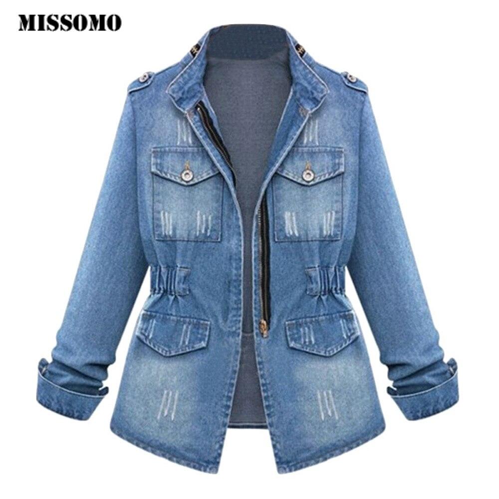 MISSOMO 5XL Womens Ladies Denim Oversize Jeans Chain Jacket pocket   Coat   Turn-  down   Collar Casual veste femme printemps 2019