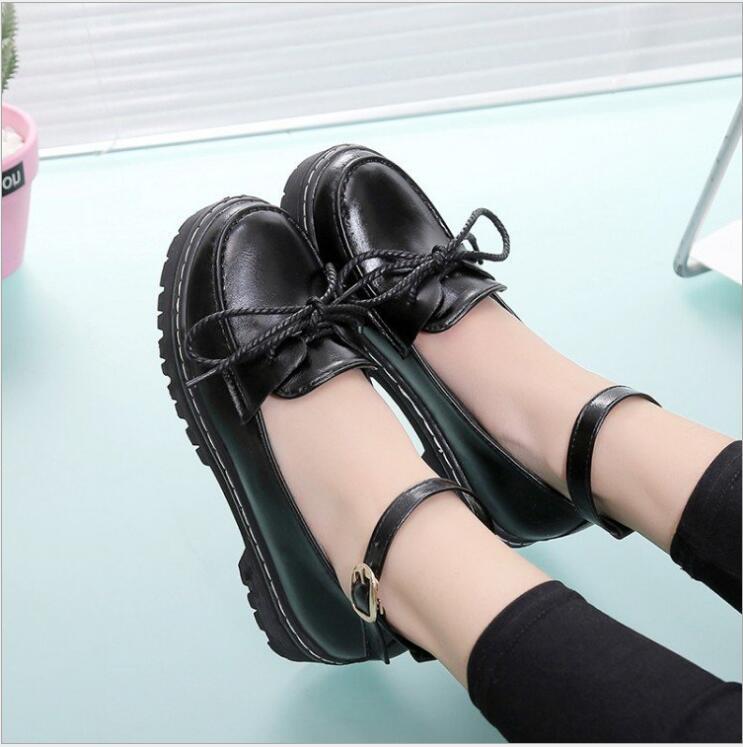 Sur Slip Femme Verni En Occasionnels forme Femmes Bowknot Boucles Automne Plate Noir Chaussures Des Haut Cuir A321 Talon Compensées Xda xqZRpaz