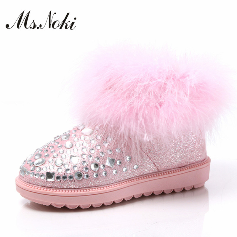 women real fur crystal snow boots 2016 winter rhinestone ankle boots fashion ladies warm plush pink flat boots shoes woman botas