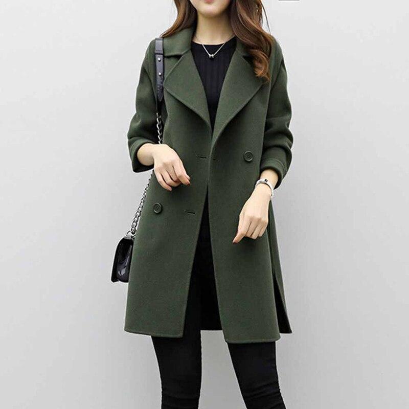 Autumn Elegant Women Lapel Long Sleeve Woolen Trench Coat Turn Down Collar Slim Double Breasted Trench Coats OL Female Overcoat