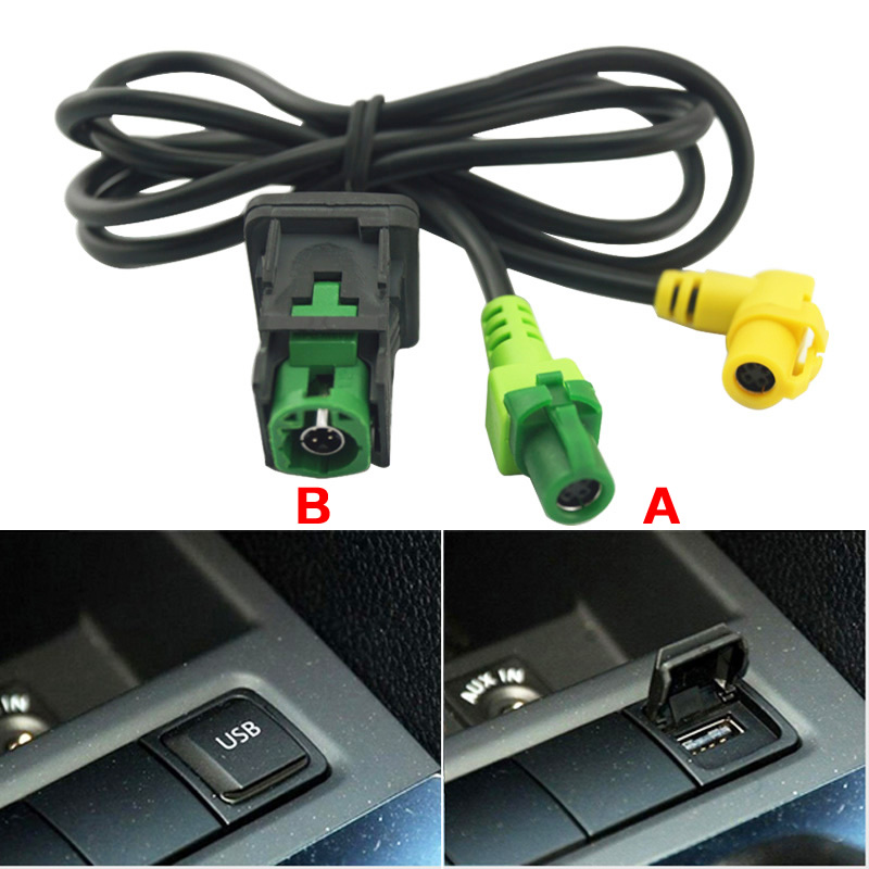 LEEWA Car OEM RCD510 RNS315 <font><b>USB</b></font> Cable With Switch For VW Golf MK5 MK6 VI 5 6 Jetta CC Tiguan <font><b>Passat</b></font> <font><b>B6</b></font> Armrest Position #CA1698 image