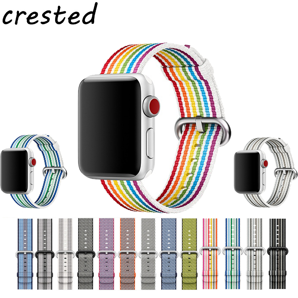CRESTED Sport woven nylon strap band for apple watch 3 42mm 38mm wrist bracelet belt fabric-like nylon band for iwatch 3/2/1